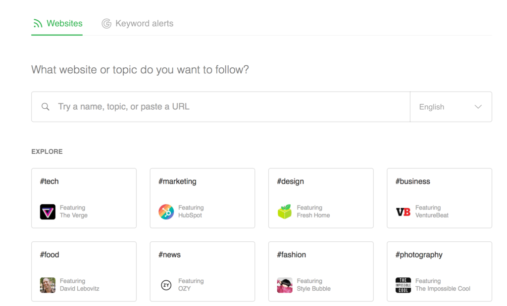 Adding sources to a new Feedly account